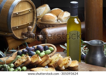 olive oil and breads - stock photo