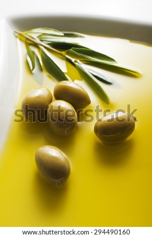 Olive oil and green olive branch in plate - stock photo