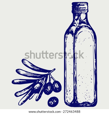 Olive oil and olive branch. Doodle style. Raster version - stock photo