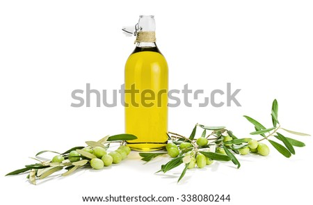 Olive Oil and Olive's Branch - stock photo