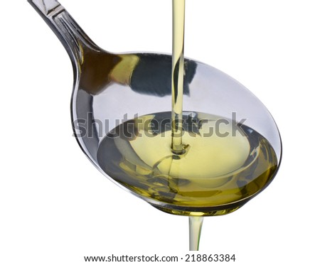 Olive oil and spoon isolated on white background and square composition - stock photo
