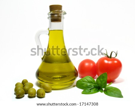 Olive oil and vegetables - stock photo