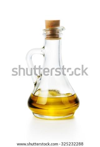 Olive oil bottle isolated over white background - stock photo