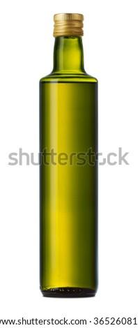 Olive oil bottle on white background - stock photo