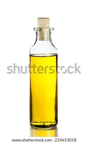 Olive oil bottle on white background, isolated - stock photo
