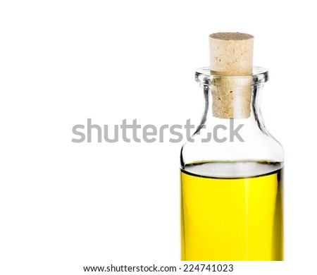 Olive oil bottle on white background, isolated with space for text