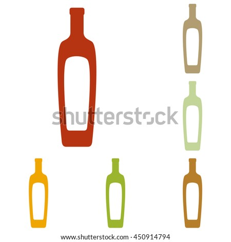 Olive oil bottle sign. Colorful autumn set of icons.
