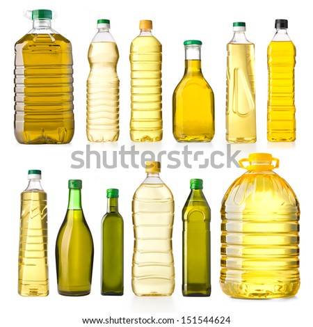 Olive oil bottles isolated on white - stock photo