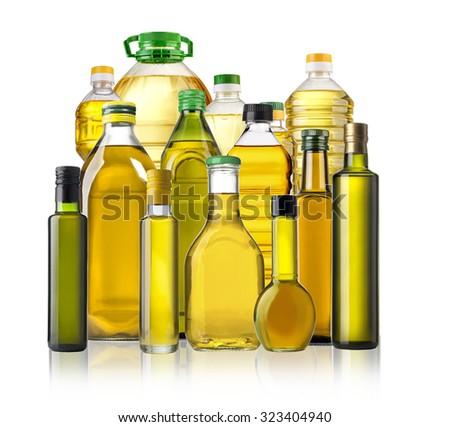 Olive oil bottles isolated  on white background  - stock photo