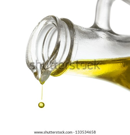 Olive oil drop close up - stock photo