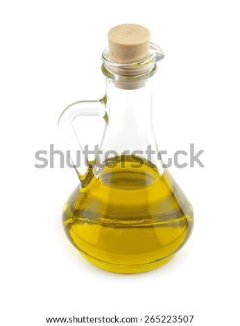 olive oil in a bottle on white