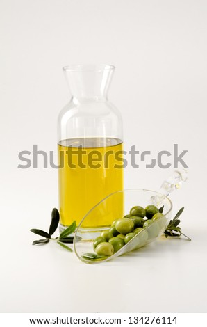 Olive oil in a bottle. White background.