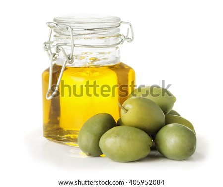 Olive oil in a glass bottle, olives isolated on a white background closeup - stock photo