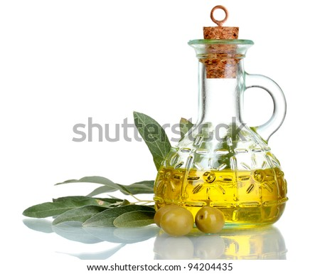 olive oil in jar and olives isolated on white