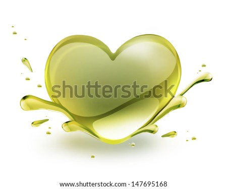 olive oil in the shape of heart on a white background - stock photo