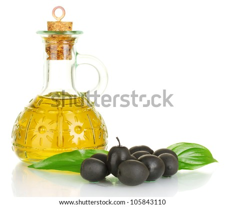 Olive oil small decanter isolated on white