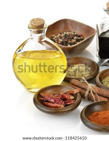 Olive Oil,Vinegar And Spices On White Background - stock photo