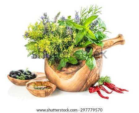 Olive oil with fresh herbs and spices dill, rosemary, basil, mint, sage, lavender. Healthy food ingredients on white background - stock photo