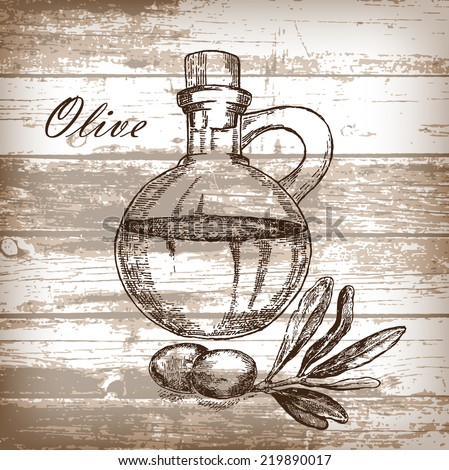 Olive oil with jar on wooden background. Hand drawn illustration in sketch style