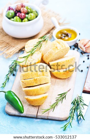 olive,olive oil and fresh bread