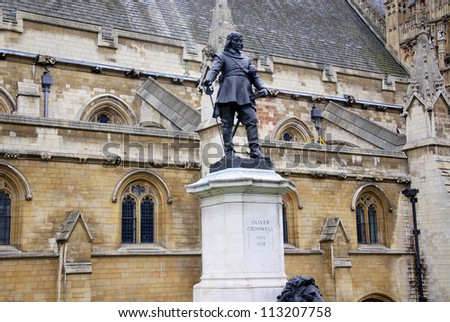 Oliver Cromwell statue near the Palace of Westminster, London, England - stock photo