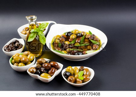 olives and olive oil - stock photo
