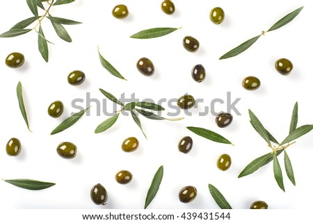 olives, leaves and  oil drops isolated on a white background - stock photo