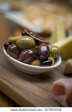 Olives served in a small dish Tapas style.