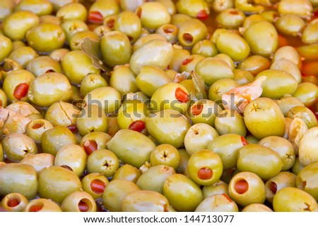 Olives stuffed with red pepper