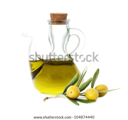 olives with olive oil bottles isolated on white background - stock photo