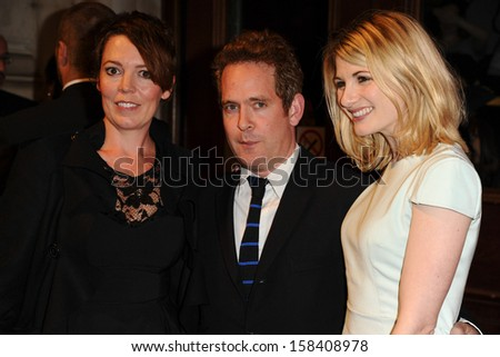 Olivia Colman, Tom Hollander and Jodie Whittaker arriving for the BFIs LUMINOUS Gala charity dinner at No.8 Northumberland Avenue, London. 08/10/2013