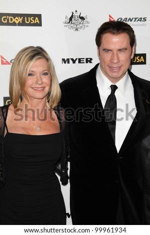Olivia Newton John, John Travolta at the G'Day USA Australia Week 2011 Black Tie Gala, Hollywood Palladium, Hollywood, CA. 01-22-1 - stock photo
