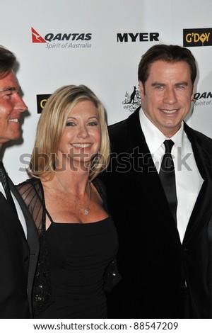 Olivia Newton-John & John Travolta at the 2011 G'Day USA Black Tie Gala at the Hollywood Palladium. January 22, 2011  Los Angeles, CA Picture: Paul Smith / Featureflash - stock photo