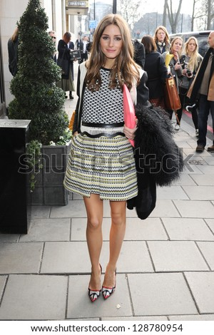 Olivia Palermo arrives at the Temperley show as part of London Fashion Week AW13, Dorchester Hotel, London. 17/02/2013 Picture by: Steve Vas - stock photo