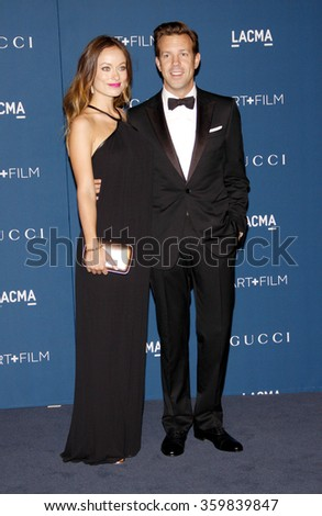 Olivia Wilde and Jason Sudeikis at the LACMA 2013 Art + Film Gala Honoring Martin Scorsese And David Hockney Presented By Gucci held at the LACMA in Los Angeles, USA on November 2, 2013.