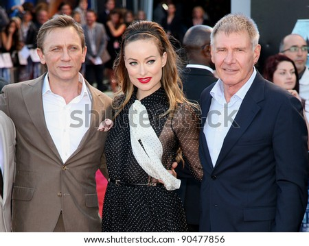Olivia Wilde, Daniel Craig and Harrison Ford arriving for the UK premiere of 'Cowboys & Aliens' at the O2, London. 11/08/2011  Picture by: Alexandra Glen / Featureflash - stock photo