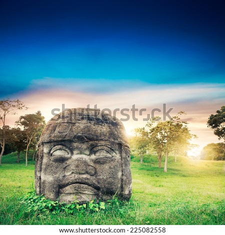 Olmec Colossal Head in the ancient city of La Venta - stock photo