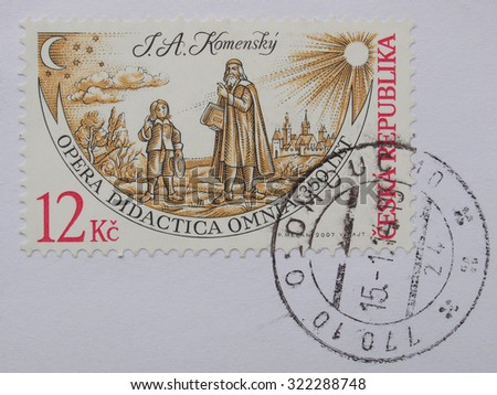OLOMOUC, CZECH REPUBLIC - CIRCA AUGUST 2014: mail stamp showing tbearing the portrait of philosopher Jan Amos Komensky on the occasion of his anniversary - stock photo