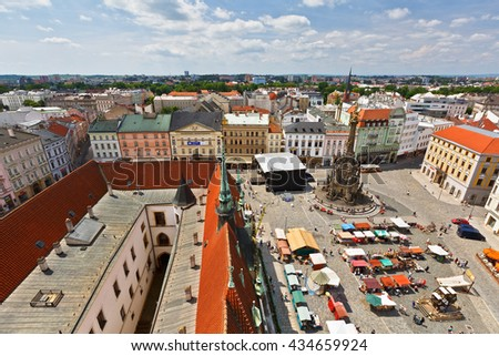 Olomouc, Czech Republic - June 04, 2016: Market in the main square of the old town of Olomouc, Czech Republic.