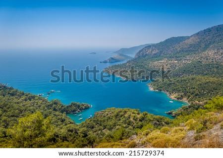 Oludeniz lagoon - popular Turkish resort - stock photo