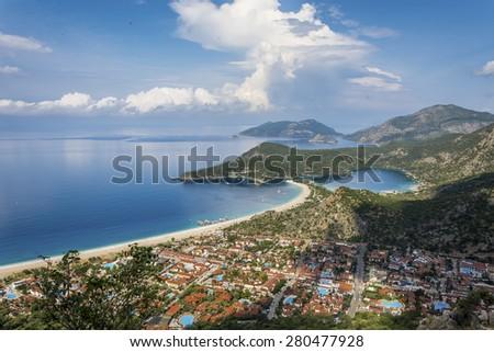 Oludeniz overview from Lycian Way - stock photo