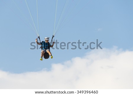 OLUDENIZ, TURKEY, 2 MAY, 2015: Paragliding tandem,Paragliding in the sky