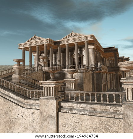 Olympia - A greek fantasy background - stock photo