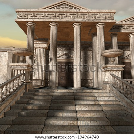 Olympia - A greek fantasy background - stock photo