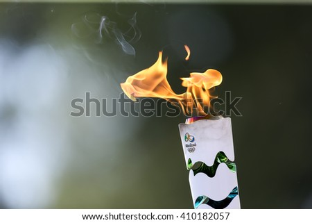 Olympia, Greece - April 20, 2016:The torch during the course of the last rehersal of the the lighting ceremony of the flame for the Olympic Games Rio 2016 and the Torch Relay, ancient Olympia, Greece.