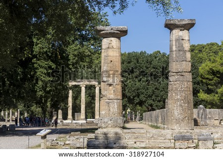 Olympia, Greece- August 9, 2015: Ancient ruins of the Philippeion at Olympia, Greece. The Archaeological Museum of Olympia, the most important of Greece.