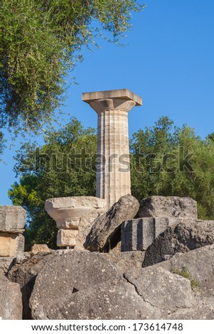 Olympia Greece ruins of Temple of Zeus - stock photo