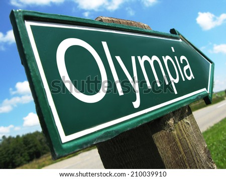 Olympia road sign - stock photo