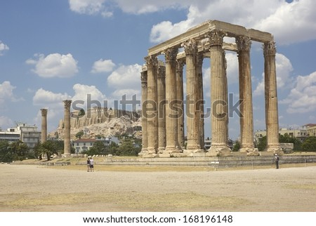 Olympieion (the Temple of Olympian Zeus) with Acropolis on the background in Athens, Greece