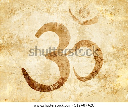 Om symbol with some smooth lines and highlights - stock photo